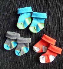 Baby clothes BOY newborn 0-1m 3 pairs bright socks, blue/grey/red COMBINE POST!