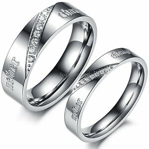 """ Neber Change"" Stainless Steel Love Promise Ring Wedding Band Men's Women's"
