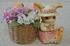 Vintage Midwest Japan Ceramic Rabbit Figurine Wicker Basket w/ Dried Flowers