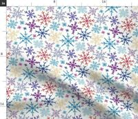 Snowflake Snow Holiday Multicolored Colorful Spoonflower Fabric by the Yard