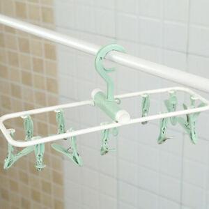 12 Clip Foldable Clothes Drying Rack Wardrobe Underwear Sock Storage Rack Hanger