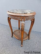 Antique Italian Carved Wood & Cane Two Tier Marble Top Side Table