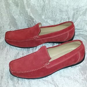 Scandia Woods Mens Red Leather Cow Suede Driving Shoes Moccasins Loafers Sz 12 W