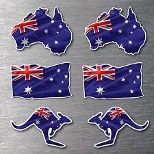 Australian Map & Kangaroo flag 6 pack 7 year water & fade proof vinyl Aussie