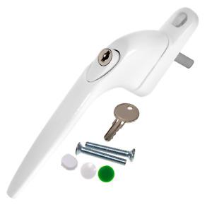 UPVC Universal Espag Window Handle - Key Locking For Double Glazing - White