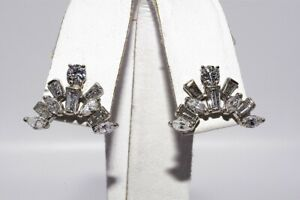 $3,900 1.70CT NATURAL MIXED CUT DIAMOND CLUSTER EARRINGS 14K WHITE GOLD