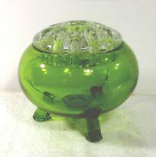 "Viking flower frog three 3 footed/feet green glass bowl 4""x4.75"" npk"