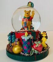 "🎄Disney Winnie The Pooh Christmas Snow Globe Music Box ""On Enchanted Christmas"""