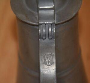 antique pewter tin 18th makers mark 1756 jug jar pitcher tankart Europe Schweden