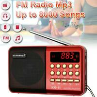 Mini tragbares FM Radio LCD Digital MP3 Player Lautsprecher wiederaufladbar AUX