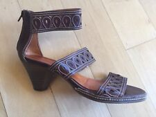 PIKOLINOS Brown Pierced Leather Strappy Gladiator Block Heel Sandals 40  9.5 10