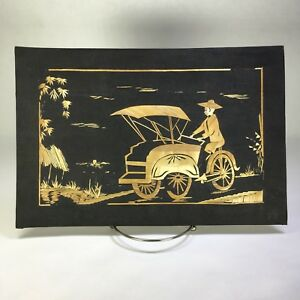 Vintage Straw Bamboo Reed Black Cloth Painting Art Asian Pacific