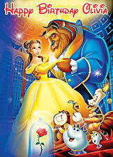 LARGE Beauty & The Beast BIRTHDAY POSTER BANNER PERSONALISED ANY NAME AGE ETC