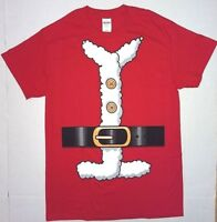 Mens Red Santa Claus Suit Christmas Holiday Costume T Shirt S L XL XXL 2XL