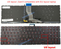 New For HP Omen 17-Wxxx 17-W000 17-W018CA 17-W033DX US Backlit Keyboard Red Font