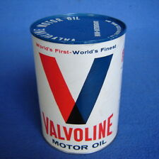 VALVOLINE 1 Qt CARDBOARD MOTOR OIL GAS STATION HOT ROD SHOP CAN FULL QUART 30W