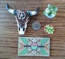 Dollhouse Miniature -Fairy Garden Decorated Steer Skull 2 plants & Welcome Mat