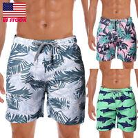 Mens Summer Casual Floral Beach Elastic Waist Swim Shorts Pants Loose Trousers