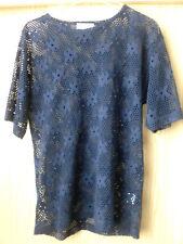 Pulli Pullover Shirt kurzarm schick dunkel-blau Gr.S Lochmuster Versand möglich