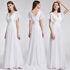 Ever-Pretty Long Chiffon Bridesmaid Prom Dress Evening Cocktail Ball Gown 09890 18 White