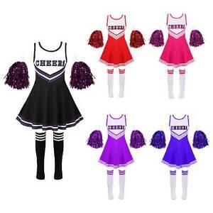 Kids Girls Halloween Costume Cheerleading Dance Dress Cosplay Pompom+Socks Sets