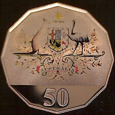 2001 50c Colored Centenary of Federation Proof Coin:Released in Proof Sets only