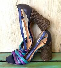 NEW Anthropologie Francesca Giobbi purple turquoise Strappy Heel Sandals 38/ 7.5