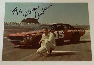 Wayne Andrews signed MERCURY COUGAR #15 NASCAR TINY LUND RIVAL postcard VINTAGE
