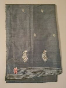 Vintage Handwoven Indian Silk Scarf - Light Blue