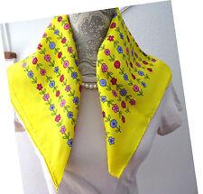 GLENTEX Vintage Yellow Silk Scarf Pink Blue Red Flowers Retro Womens Accessories
