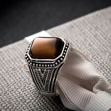 Gothic Silver Natural Stone Tigers Eye Stainless Steel S8-11 Women Men Ring