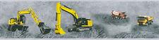 Kinder Tapeten Bordüre Baustelle Bagger Kran LKW Betonmischer grau gelb 35871-1