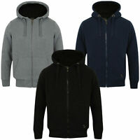 Dissident Mens  Hooded Jacket Zip Up Hoodie Heavy Sherpa Fleece Fur Lined Jumper