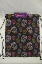 2 Sugar Skull Drawstring Bag Reuseable Gift Sack Backpack Day of The Dead
