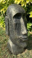 STONE GARDEN EASTER ISLAND HEAD MOAI TIKI GOLD CONCRETE ORNAMENT