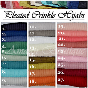 New Style Pleated Crinkle Hijab Scarf Maxi Headscarf Large Shawl Ruffle Muslim