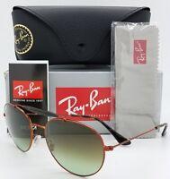 NEW Rayban Sunglasses RB3540 9002/A6 56 Bronze Green Gradient round Aviator 3540