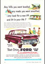 "1955 FORD CUSTOMLINE V8 AD A3 CANVAS PRINT POSTER FRAMED 16.5""x11.7"""