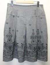 Gray Wool Skirt Pleated Tribal Print Fall Lined Holiday 30 In Waist Women