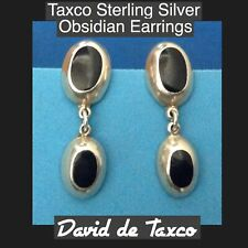 Four Matching Black Obsinian Stones Taxco 925 Sterling Silver Earrings featuring