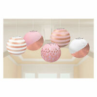 Rose Gold Blush Pink  Paper Mini Lanterns With Foil Party Decorations  x 5