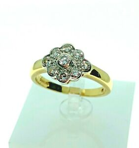 18ct Gold Diamond Set Oval Cluster Engagement Ring - Size M