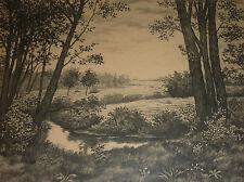 Flusslauf in Worpswede Expressionismus Radierung Heidelandschaft