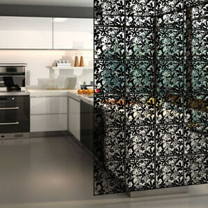 4 pieces Hanging Room Divider Screen Panels Carving PVC Black Home Decor 15inch
