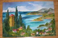 VINTAGE YUGOSLAVIA VILLAGE HOUSES LANDSCAPE LAKE MOUNTAINS LISTED W/C PAINTING