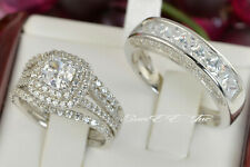 His Hers 14k White Gold 925 Sterling Silver Wedding Ring Engagement Ring Set