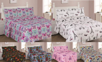NEW 3/4PC BED SHEET SET BEDROOM FITTED FLAT PILLOWCASES KIDS DESIGNS TWIN FULL