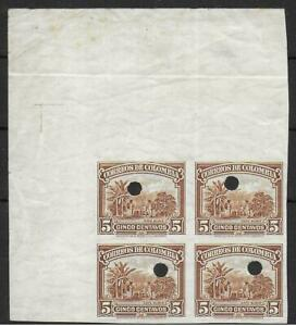 Colombia stamps 5centavos PROOF Bloc of 4 MLH VF
