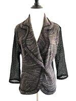 Alberto Makali Womens Mesh Cardigan Size M Black Double Breasted Blazer