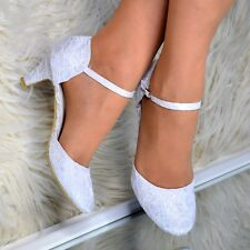 Ladies Bridal Lace Shoes Wedding Mary jane Ankle strap Court Shoes Closed Size